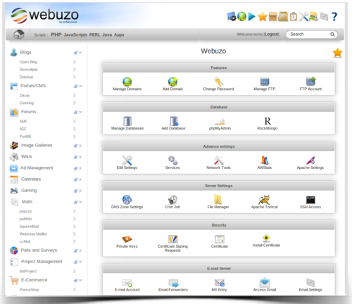 Обзор панели управления Webuzo