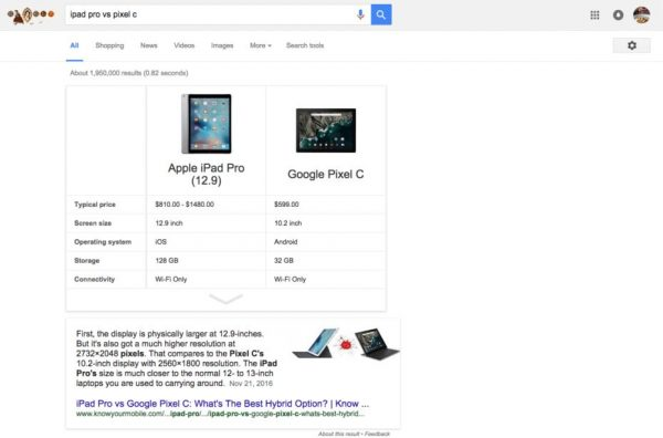 как сравнить товары в google