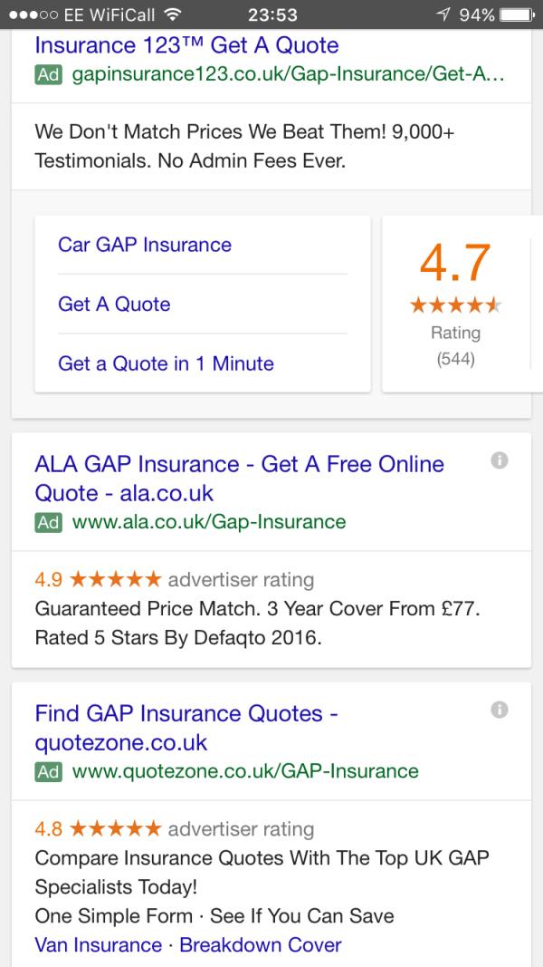 рейтинг объявлений в google adwords