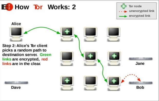 Tor-клиент Алисы выбирает произвольный маршрут к серверу назначения