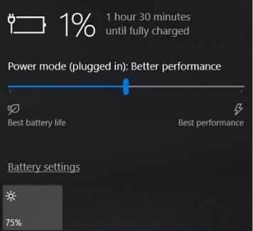 Слайдер производительности батареи