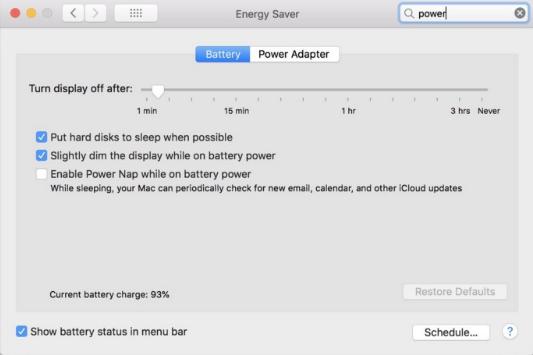 Настройки батареи в MacOS