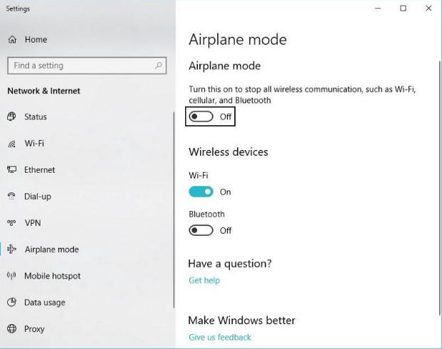 Настройки авиарежима на Windows 10