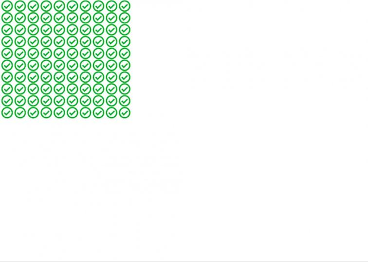 Страница со 100 картинками зеленых галочек для примера