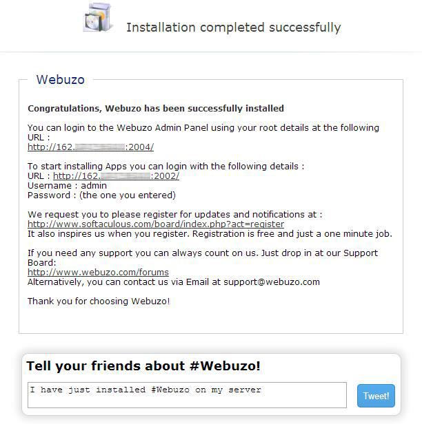Завершение установки Webuzo