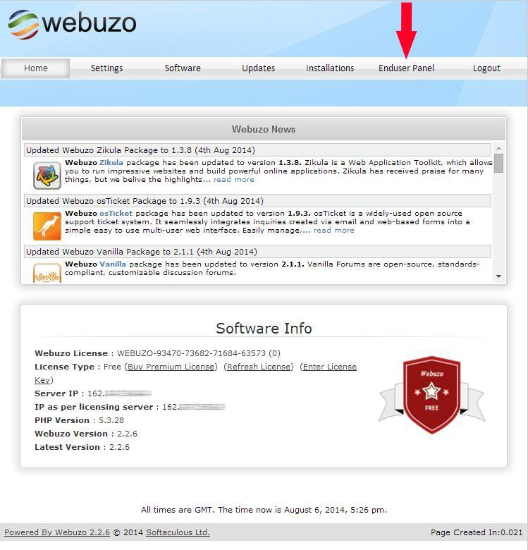 Панель администратора Webuzo