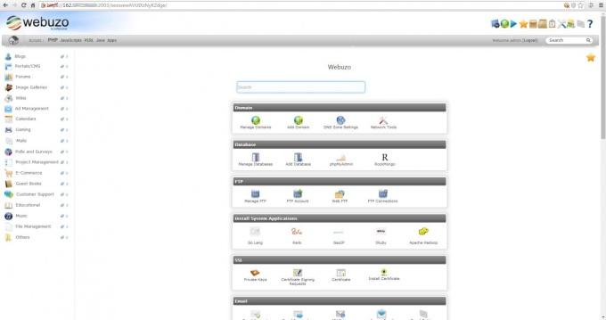 Управление хостингом в панели Webuzo