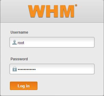 Вход в панель WHM