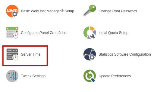Серверное время в cPanel