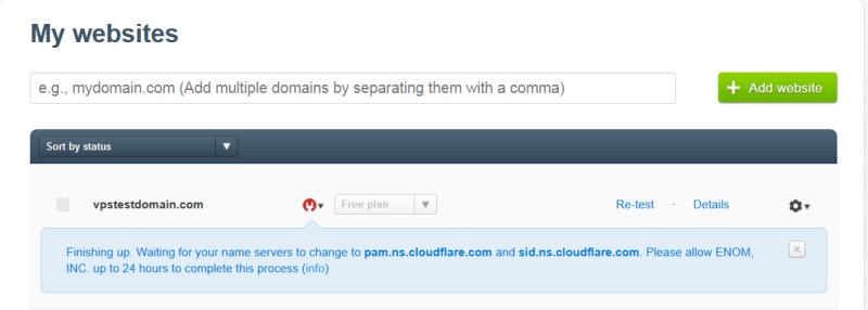 Результат регистрации домена в CloudFlare