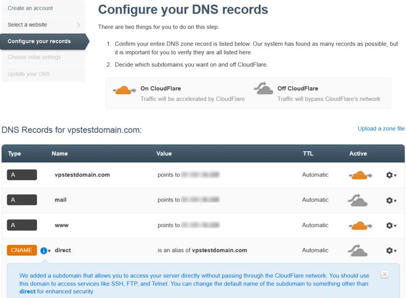 Конфигурирование DNS записей в CloudFlare