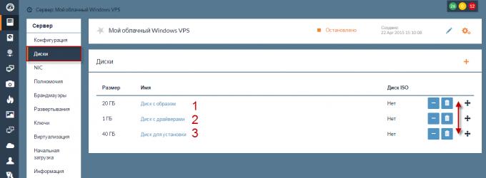 Выбор диска загрузки облачного Windows VPS