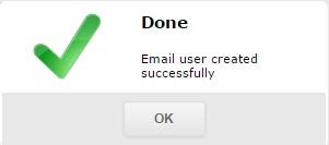 Уведомление об успешном создании нового почтового ящика