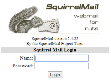 Страница авторизации Squrrel-mail