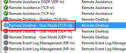 Правило Remote Desktop — User Mode (TCP-In)