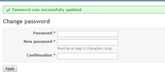 Сообщение об успешной смене пароля