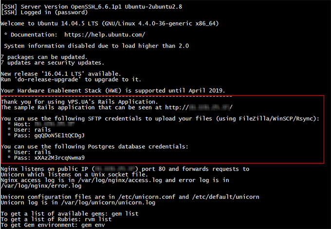 Успешное подключение по SSH - Ruby on Rails