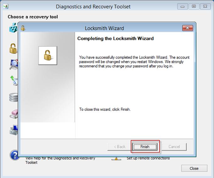 Завершение смены пароля в Locksmith Wizard