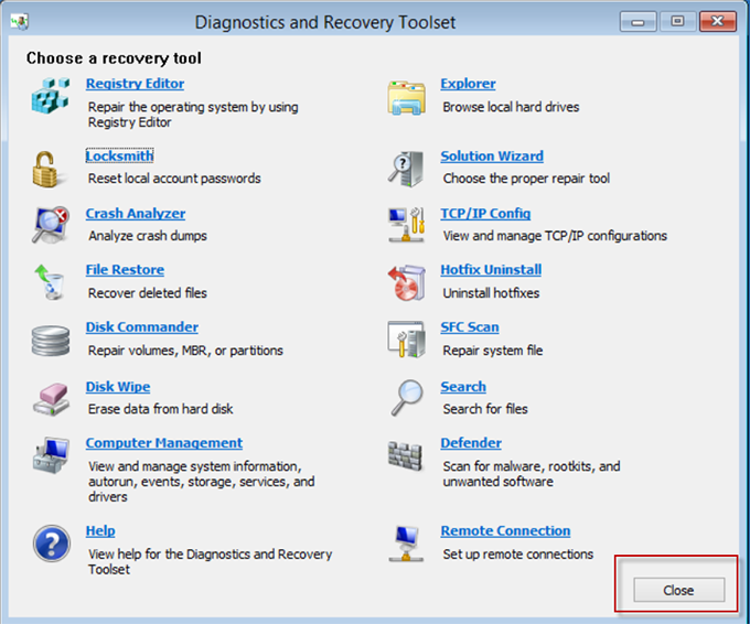 Закрытие Diagnostics and Recovery Toolset