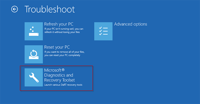 Выбор Microsoft Diagnostic and Recovery Toolset