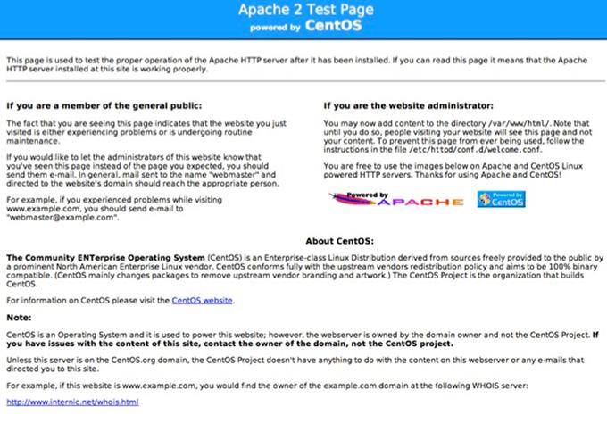 Тестовая страница Apache в CentOS
