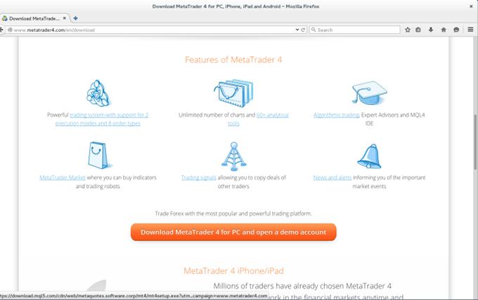 Установочный файл ПО MetaTrader 4