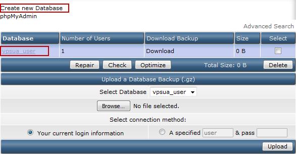 Выбор базы данных MySQL в DirectAdmin
