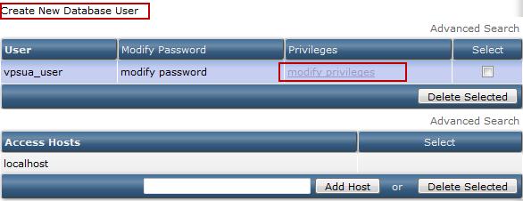 Выбор пользователя MySQL для изменения его привилегий в DirectAdmin