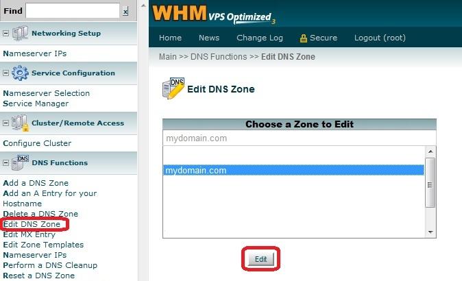 Выбор зоны в WHM