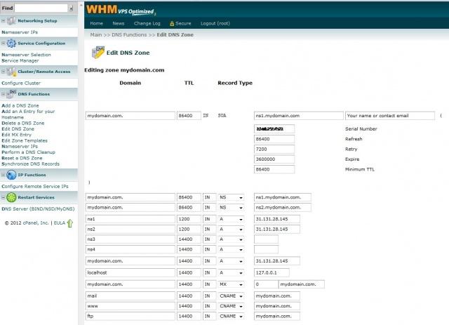 Ресурсные записи DNS - WHM