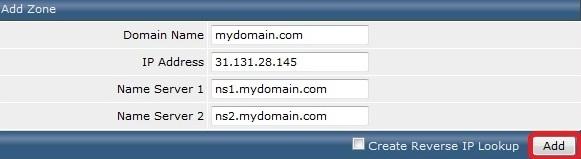 Создание доменных зон DirectAdmin