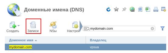 Доменные имена в ISP Manager