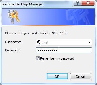 Форма ввода логина и пароля Remote Desktop Manager