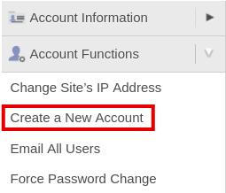 Создание нового аккаунта в cPanel