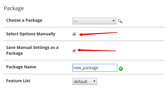 Форма Package в cPanel