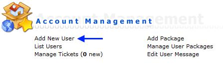 Добавление нового пользователя в DirectAdmin