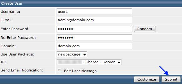 Форма создания пользователя в DirectAdmin