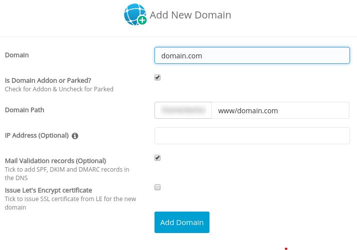 Добавление нового домена в Webuzo