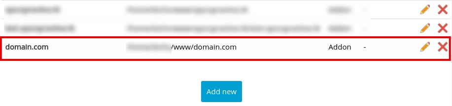 Пункт меню Manage Domains в Webuzo