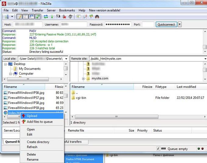 Загрузка файлов на VPS по FTP через FileZilla