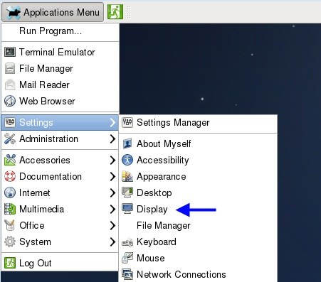 Выбор разрешения в Fedora-17-x86_64-XFCE