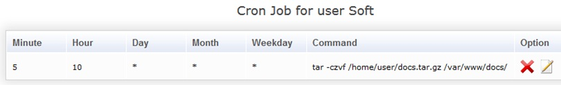 Список Cron Job for user Soft