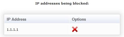 Адрес в списке блокированных