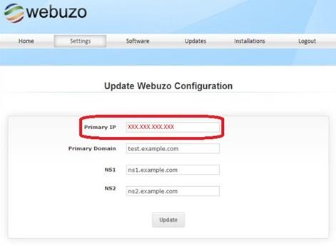 Изменение IP адреса в панели Webuzo