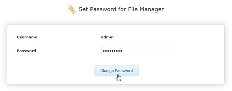 Смена пароля для входа в менеджер файлов