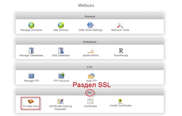 Управление SSL сертификатами в Webuzo