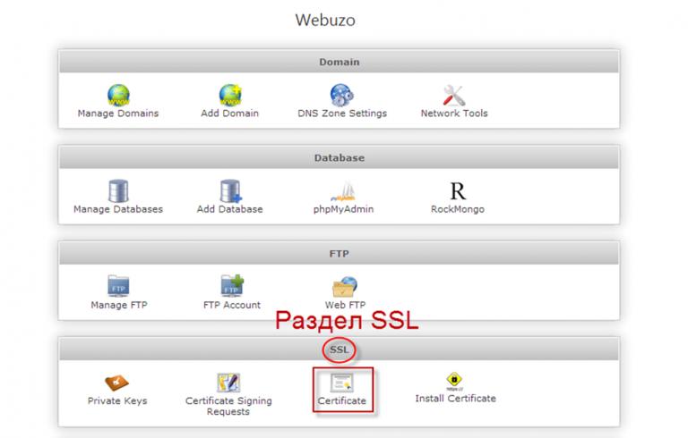 Раздел SSL