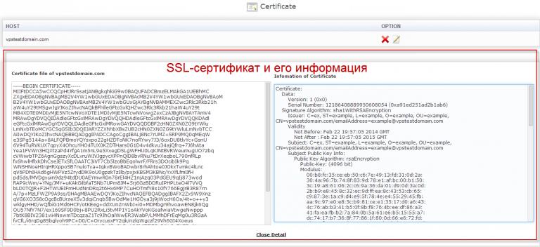 Данные SSL-сертификата