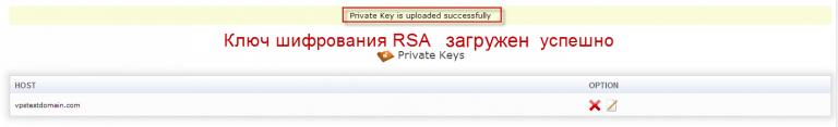 Сообщение об успешной загрузке RSA