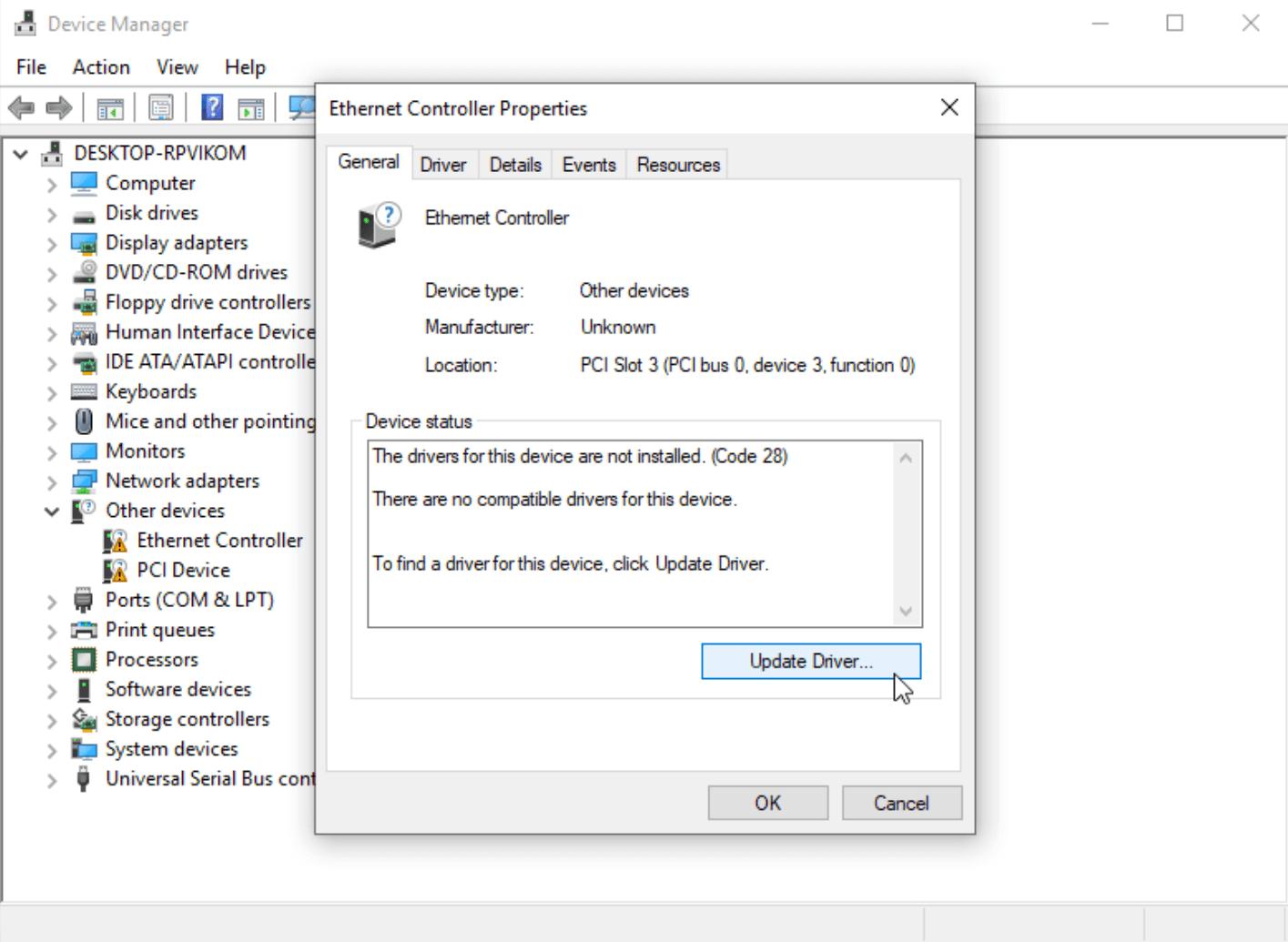 Обновление драйвера для Ethernet Controller в Windows 10